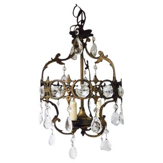 Antique Ornate Bronze Powder Room Chandelier