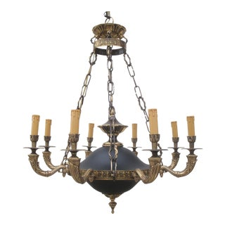 French Empire Black and Gold Brass Chandelier