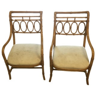 Vintage Henredon Bamboo Armchairs - A Pair