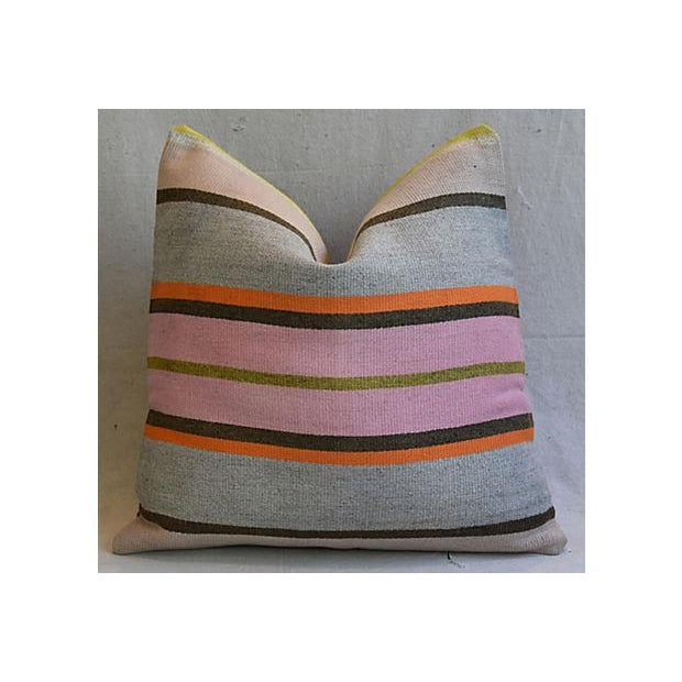 """20"""" Custom Tailored Anatolian Turkish Kilim Wool Feather/Down Pillows - a Pair - Image 3 of 11"""