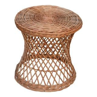 Brown Woven Round Wicker Side Table