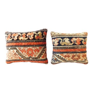 Antique Malayer Rug Lumbar Pillows - a Pair
