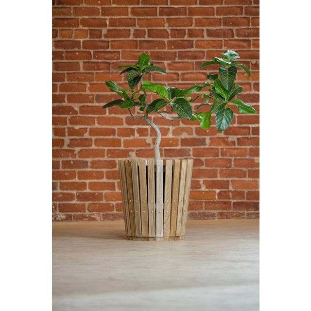 Customizable Plantum Bleached American Hardwood Modular Planter Cover with Brass Rivets - Image 3 of 4