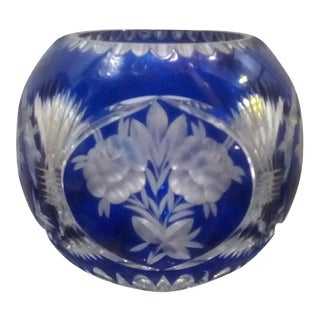 Vintage Lausitzer Cobalt to Clear Crystal Bowl