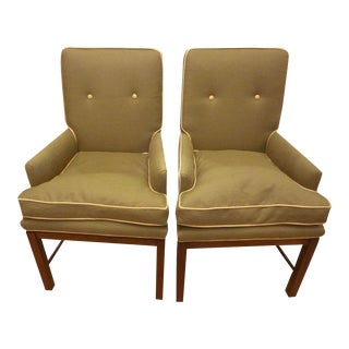 Pair of Baker of Upholstered Arm Chairs