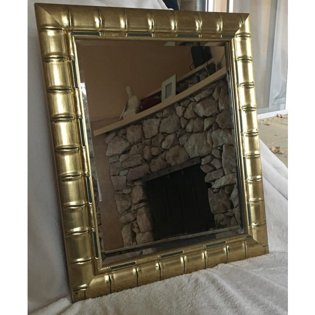 Gold Bamboo Beveled Mirror, Hollywood Regency - Image 3 of 6