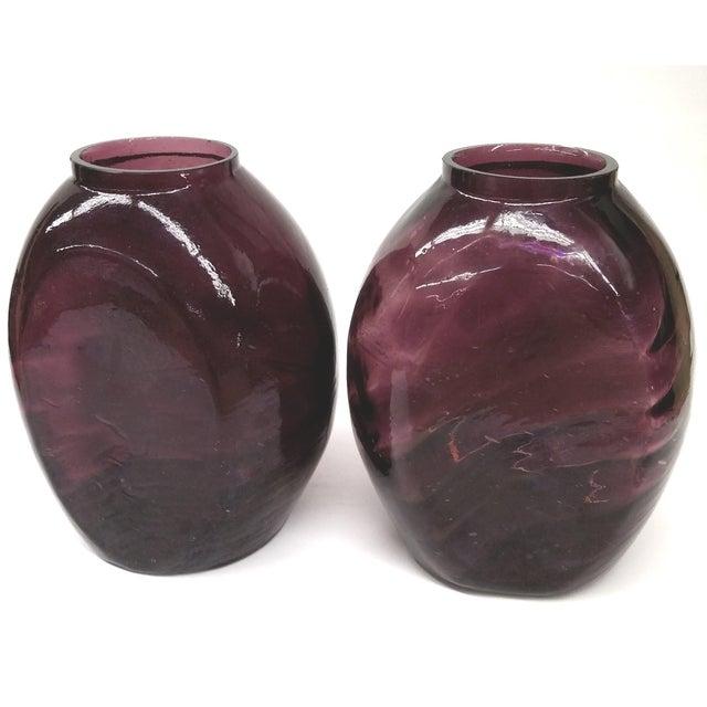 Twin Vintage Amethyst Glass Vases Heather Plum - 2 - Image 9 of 10