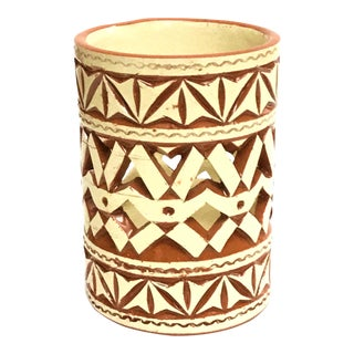Moroccan Hand Painted White Ceramic Tealight Cup Holder