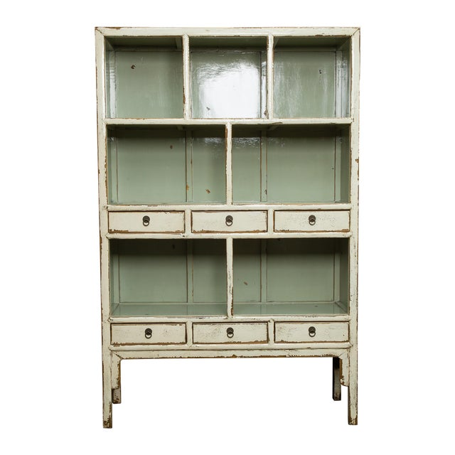 Chinese Cream Lacquered Open Shelf Cabinet - Image 1 of 6