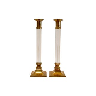 Vintage Brass and Lucite Candle Holders - 2