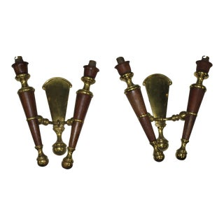Big Pair Of French Art Deco Solid Bronze / Mahogany Sconces Wall Lights Circa 1940s.