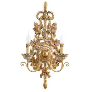 Hand Carved Wood Sconce Made in Italy