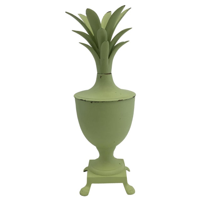 Image of Vintage Light Green Painted Brass Pineapple Box