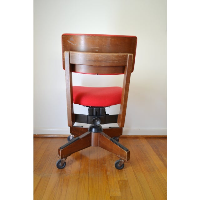 Gunlocke Red Swivel Desk Chair - Image 4 of 5