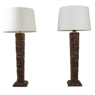 Tall Carved Mid-Century Lamps - A Pair