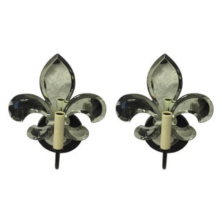 Fleur de Lis Mirrored Sconces - a Pair