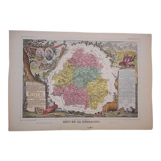 Antique Map Provinces of France Engraving, La Dordogne