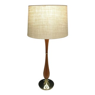 Mid-Century Walnut & Brass Lamp