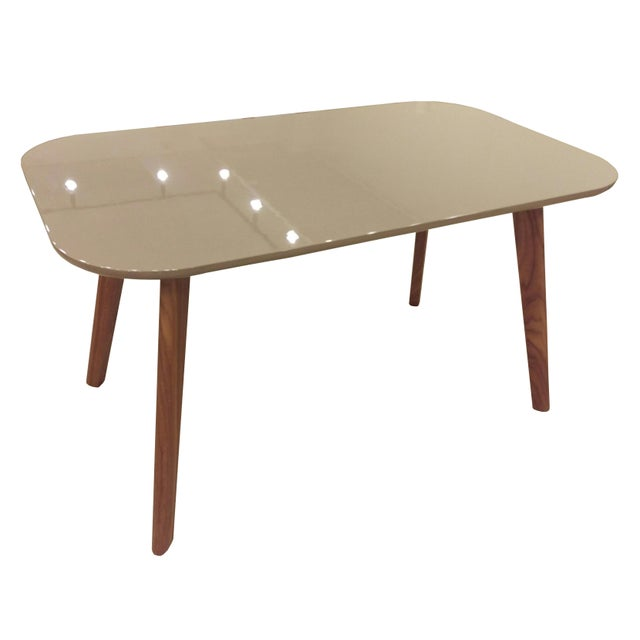 Gray Gloss Dining Table with Walnut Legs - Image 2 of 3