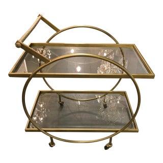 Vintage Gold-Toned Circular Bar Cart