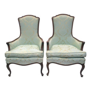 Damask Upholstered Armchairs - A Pair