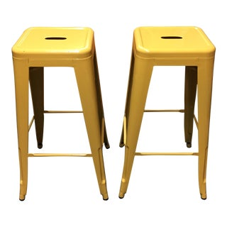 Yellow Painted Metal Bar Stools - A Pair