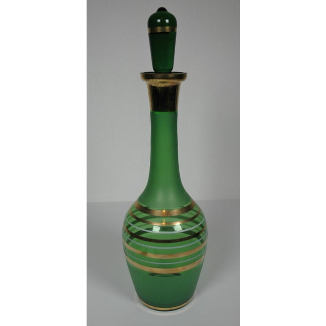 Image of 1960's Green Glass Bohemian Decanter Set
