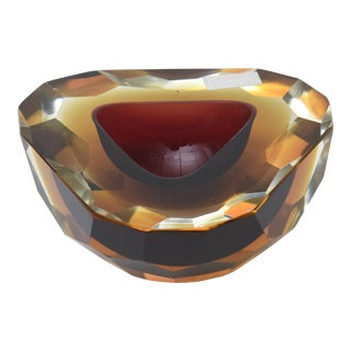 Italian Murano Sommerso Geode Glass Bowl