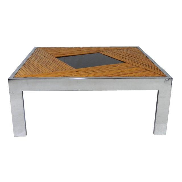 Mid Century Chrome Coffee Table: Mid-Century Milo Baughman Bamboo & Chrome Coffee Table