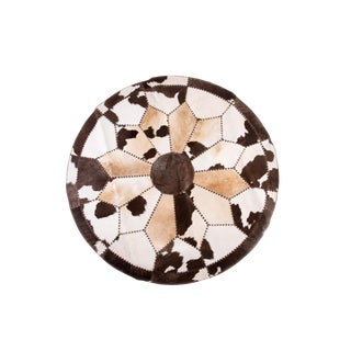 """Cowhide Patchwork Round Area Rug - 6'6""""x6'6"""""""