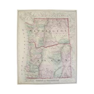Map of Oregon And Washington Print