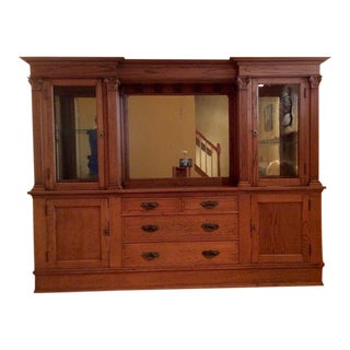 Early 20th Century Carved Oak Wall Unit