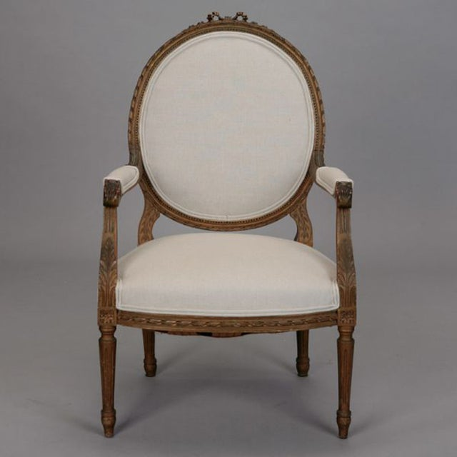 Louis XVI Oval Back Gilded Fauteuils - A Pair - Image 3 of 9
