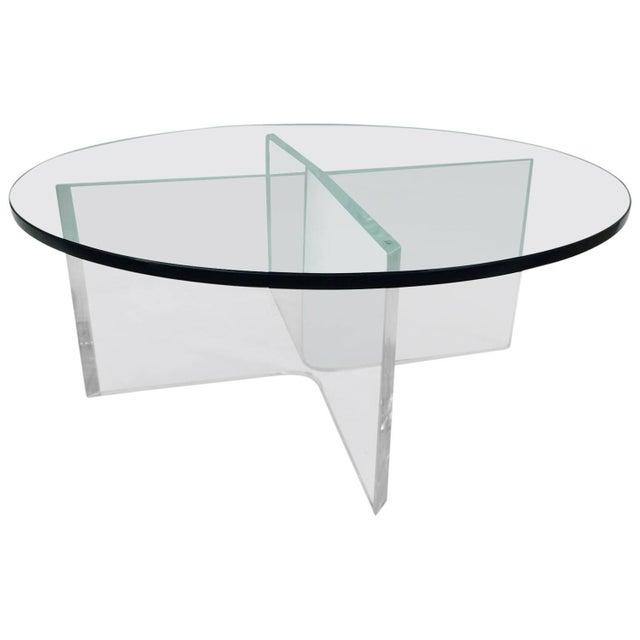 Glass Coffee Table on Bent Lucite Base - Image 1 of 6