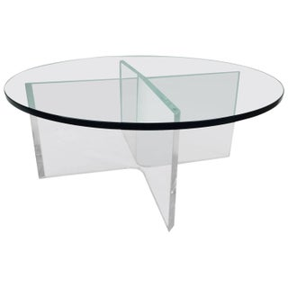 Glass Coffee Table on Bent Lucite Base