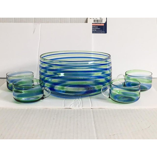 Mid-Century Artisanal Glass Swirl Punch Bowl Set - Set of 5 - Image 6 of 6