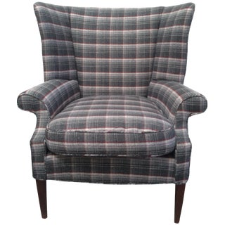 Gray Plaid Wing Chair
