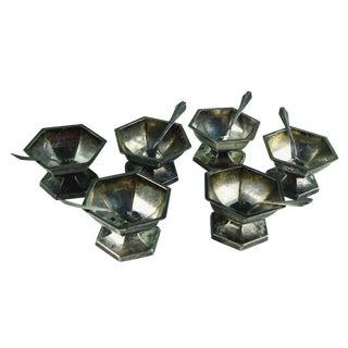 Silver Deco Open Salts & Spoons
