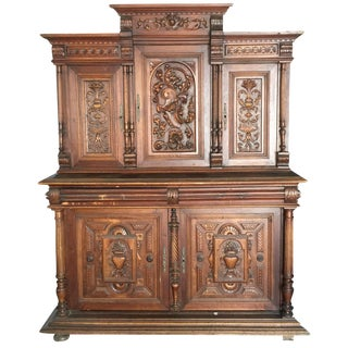 19th-C. French Carved Hutch with Grape Motif