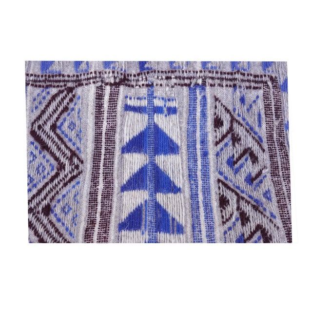 "Moroccan Flatweave Violet & Blue Rug - 4'10"" x 7' - Image 8 of 8"