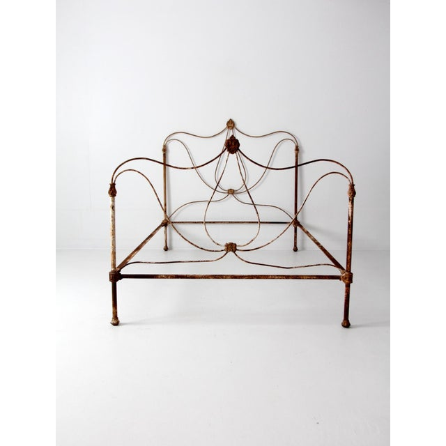 Antique Art Nouveau Iron Bed - Image 4 of 10