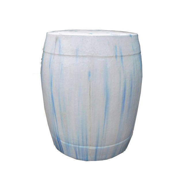 Chinese White & Blue Ceramic Garden Stool - Image 2 of 6