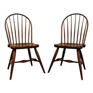 Duckloe Bros Cherry Hoop-Back Windsor Side Chairs - a Pair