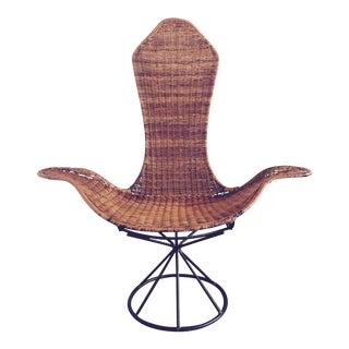 Laverne Mid-Century Modern Wicker Tulip Lounge Chair