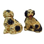 Image of 1920s Staffordshire Dogs King Charles Spaniels - A Pair