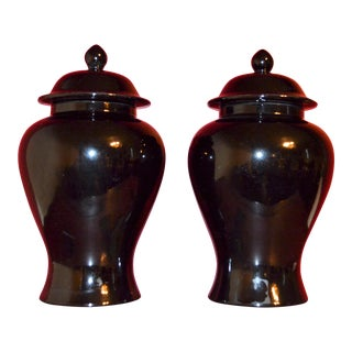 Black Haegar Ginger Jars - a Pair