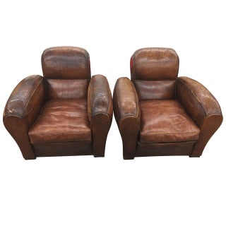 Vintage Leather Cigar Club Chairs- A Pair