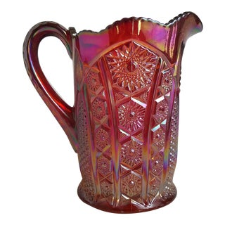 3-Piece Red Canival Glass Pitcher Set