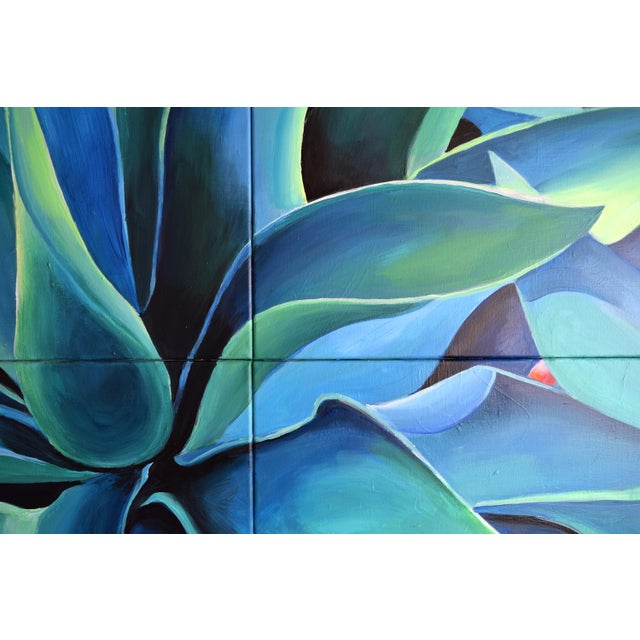 'Silver Blue Agave' Acrylic Painting - Image 3 of 9