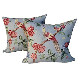 Scalamandre Floral & Bird Chinoiserie Pillows - a Pair